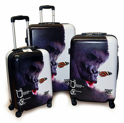 "Set of 3 Polycarbonate Suitcases 4x2 wheels ""Gorilla & Butterfly"" 19"", 24"", 27"""