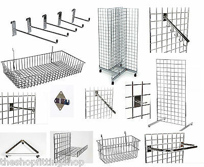 Grid Wall Gridwall Mesh Retail Shop Display Panel Chrome Accessory Hook Arms