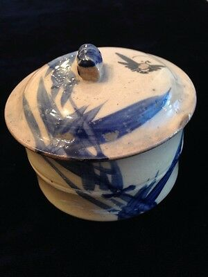 Antique Vintage Stonewear Crock Bowl With Lid Blue Decoration