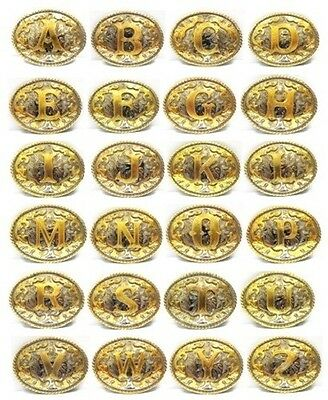 Initial Letters Western Style Cowboy Rodeo Gold Tone Oval Belt Buckle