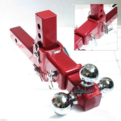 "2"" Tri-Ball Tow  Red Hitch 3 Way Adjustable Vertical Travel Solid Raise Drop"