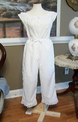 CIVIL WAR DRESS VICTORIAN UNDERPINNINGS WHITE COTTON CROTCHLESS PANTALETTS~PLUS