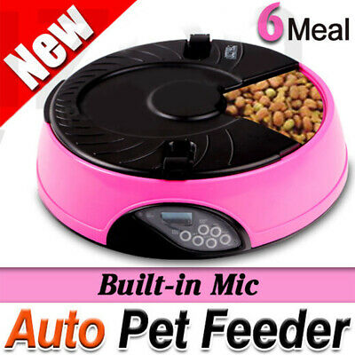 LCD AUTO Dog Cat Pet Feeder Dispenser Food Bowl Automatic Program Digital 6-Meal