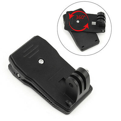 360° Rotary Backpack Hat Rec-Mounts Clip Fast Clamp Mount for GoPro Hero 4 3 2 1
