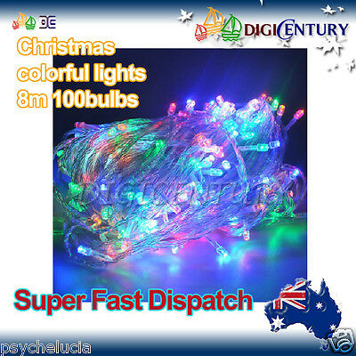 8 Changes 100 bulbs Christmas Colorful String Fairy Outdoor Lights 8M + 1 Plug