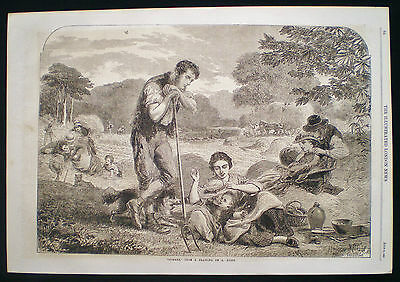 SUMMER by ANDREW HUNT / ENGLISH RURAL HAYMAKING FARMING BUCOLIC OLD PRINT 1863