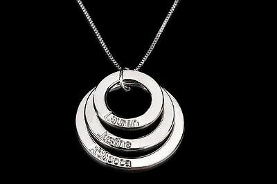 Personalised  Name Necklace Pendant.2- 3-4-5 Ring Pendant. Perfect for MUM.
