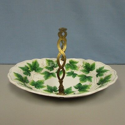 Antique Meissen green leaf and berry basket early 19th
