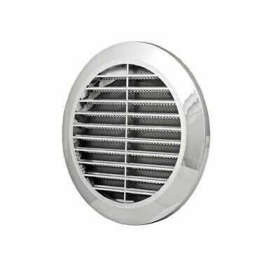 """Chrome Circle Air Vent Grille 100mm 4"""" Silver Round Wall Ventilation Cover T30M"""