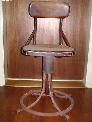 Antique Industrial Metal & Wood Machinist Stool W/ Cane Seat