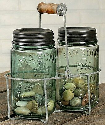 Primitive Country Rustic Gray Wire Mason Jar or Soap Lotion Caddy Wooden Handle