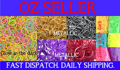 600 or 1200 LOOM BANDS Rubber Refill Kit  GLOW in DARK Metallic 48 S Clips New