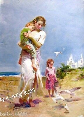 Handicraft repro oil painting : young mother children #3469