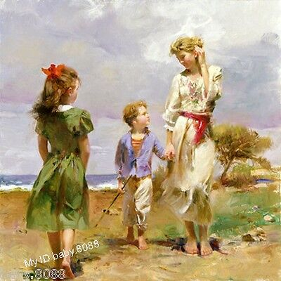 Handicraft repro oil painting : young mother with children little girl and boy