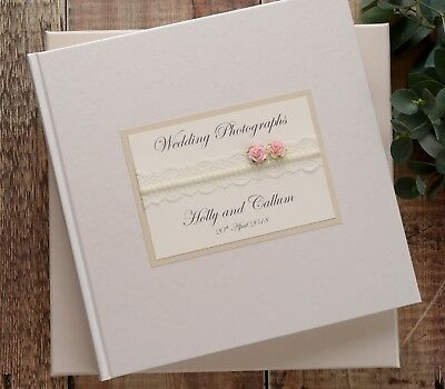 White, Ivory or Cream Personalised Wedding Photograph Album. Lace & Rose Design.