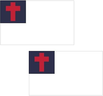 "Christian Flag set of 2 - 3"" sticker decal vinyl bumper religon religious"