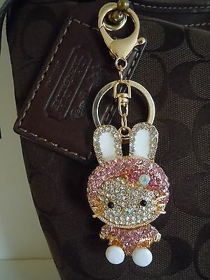 Hello Kitty My Melody Rhinestone And Medal Alloy Purse Charm And Or Key Chain.