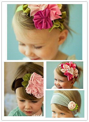 Cotton Girls Baby Rose And Flower Headband Hairband Bow Uk Seller