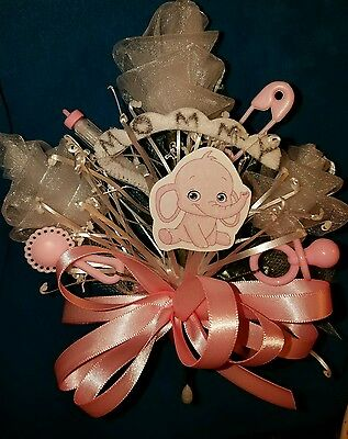 Baby shower MOMMY elephant corsage boy or girl aqua pink or blue jumgle theme