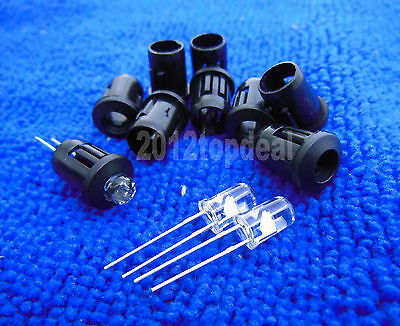 50pcs 5mm Black Plastic LED Holders Case Cup Mounting
