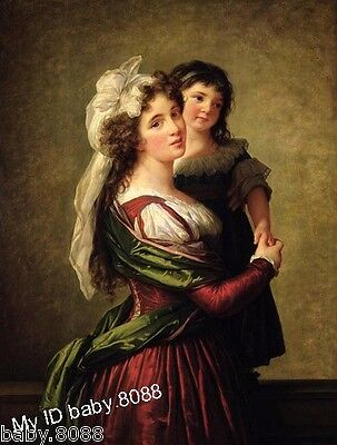 Handicraft repro oil painting : portraits young mother with little daughter #799