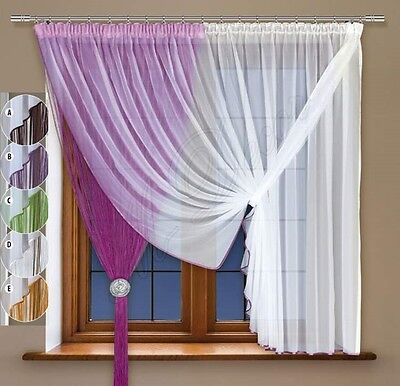 Curtain with trimming and made of white voile and stitched string/fringe curtain