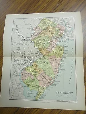 Nice color map of the State of New Jersey.  Printed 1891.  Antique Map.