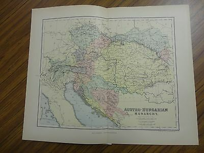 Nice color map of Austro-Hungarian Monarchy.  Printed 1888.  Chambers Map.