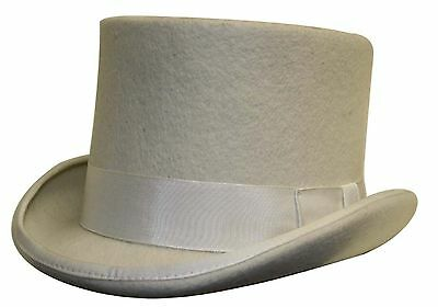 100% Wool Satin Lined Wedding Ascot Event Off White Felt Top Hat