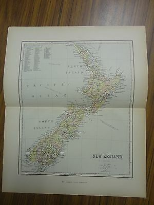 Nice color map of the Country of New Zealand.  Printed 1891.  Chambers Map.