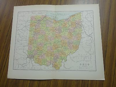 Nice color map of the State of Ohio.  Printed 1891.  Chambers Map.
