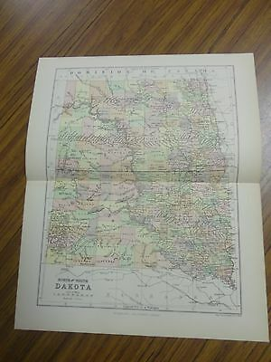 Nice color map of the States of North & South Dakota.  Printed 1891 by Chambers.