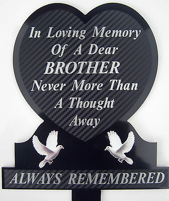 Memorial Plaque Grave Heart Personalised BROTHER  In Loving Memory