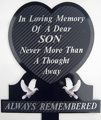 Memorial Plaque Grave Heart Personalised SON In Loving Memory