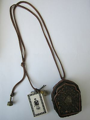 Tibet Copper & Mixed Metal Gao Box Copper Encased In Leather With Brass Buttons