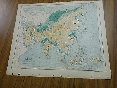 Nice color physical map of Asia by Regions.  Printed 1896 by American Book Co.