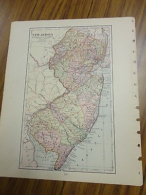 Nice color map of New Jersey.  Printed 1896 by American Book Co.