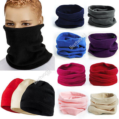 Mens Womens Shawls leece Snood Scarf Neck Warmer Ski Beanie Hat Balaclava Scarf