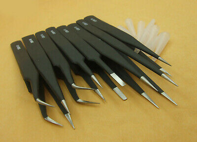 8 PCS Non-magnetic Stainless Steel Tweezers Plier Tools for Jewelry IC SMD SMT