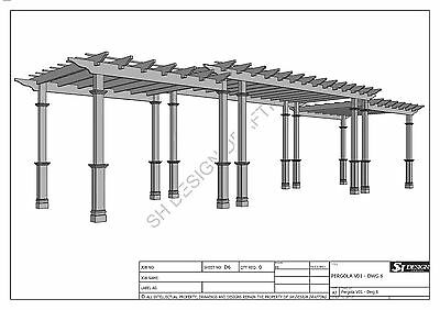 GRAPE VINE PERGOLA - OUTDOOR PATIO COVER - V2 Full Building Plans