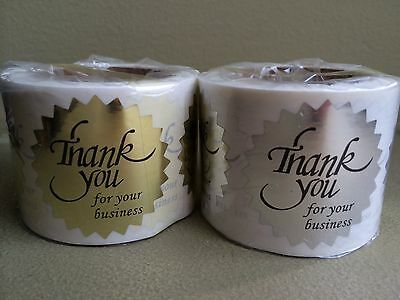 Thank You For Your Business Sticker Label Starburst Bright Gold+Silver 1/2""