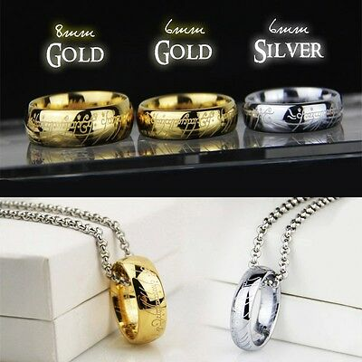 Lord of the Rings Hobbit Mens Titanium Tungsten Gold with FREE Chain Necklace