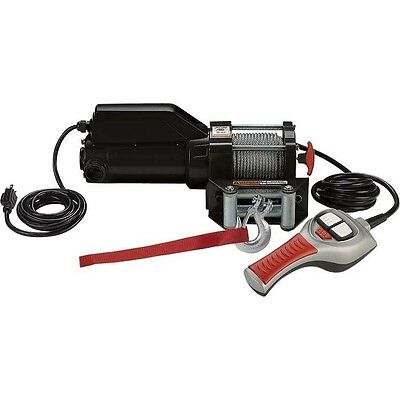 Electric AC Winch & Remote Control - 1500 Lbs - 120 Volts - 261:1 - Freespooling