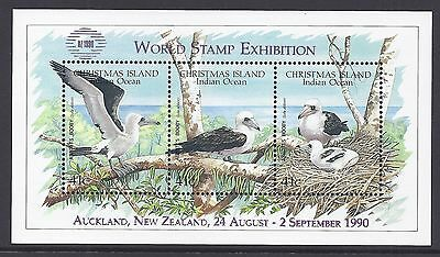 1990 Christmas Island Abbotts Booby Minisheet Nz 1990 Overprint Mint Mnh/muh