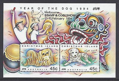 1994 Christmas Island Year Of The Dog Minisheet Fine Mint Melbourne Overprint
