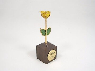 """3"""" 24k Gold Dipped Yellow Rose in Square Stand (Free Anniversary Gift Box)"""