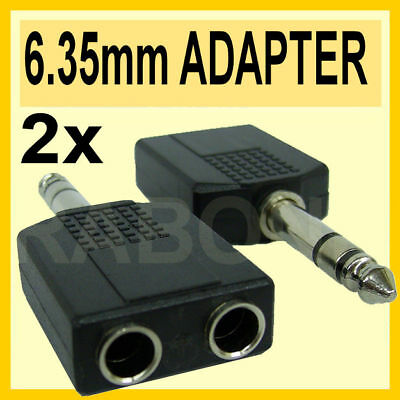 "Qty 2 -6.35MM Stereo 1/4"" Inch Plug to 2 x JACK HEADPHONE ADAPTER Y SPLITTER A02"