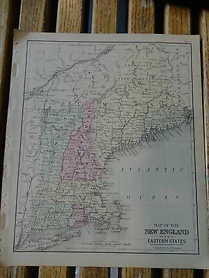 Nice colored map of New England.  Warrens 1884 pub. by Cowperthwait & Co.