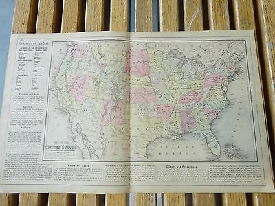 Nice colored map of the United States.  Warren's 1884 pub. by Cowperthwait & Co.