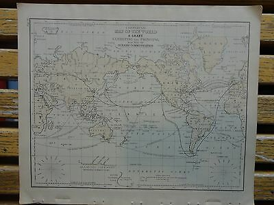 Nice colored map/World Oceanic Comm .  Warren's 1884 pub. by Cowperthwait & Co.